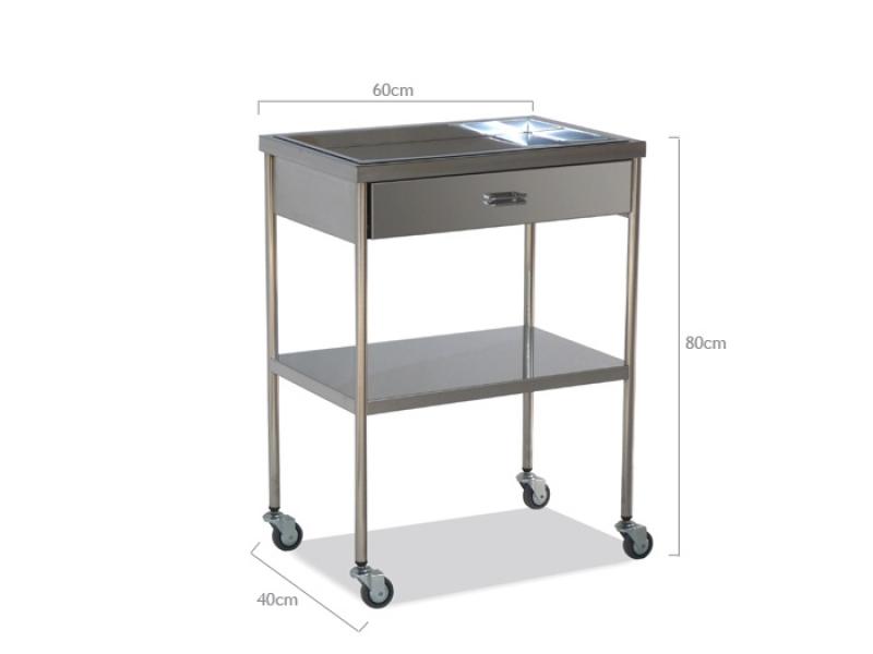 Avlastningsbord med hjul i rostfritt stål, med låda och utdragbara bricka på toppen nordmed u2122