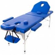 Fällbar massagebrits i aluminium med tillbehör och fällbart ryggstöd 194x70 cm