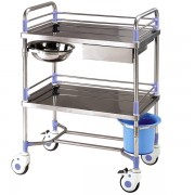 Rostfritt stål dressing vagn med 2 brickor och ett handfat