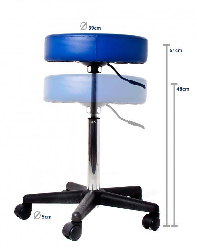 taburett med hjul ~ hög taburett med klädsel och höjbar med gas, med 5 hjul